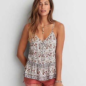 American Eagle Peplum Floral Lace-Up Collar Tank